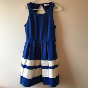 Blue and White Fit and Flare Sugarlips Dress